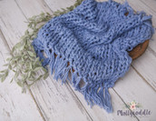 Pure Wool Hand Knitted Fringe Layer - Hydrangea Blue