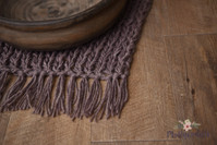 Alpaca Blend Hand Knitted Fringe Layer - Minky Brown