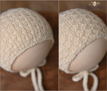 """Reversible newborn knitted bonnet. """"Right"""" side and """"wrong"""" side pattern."""