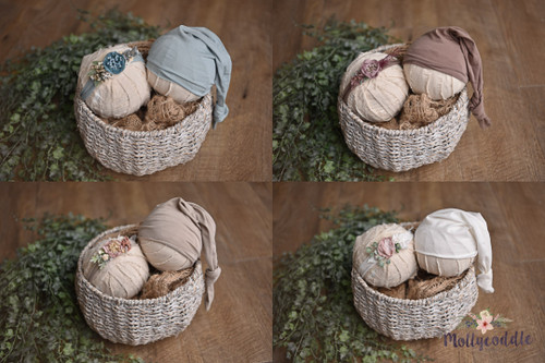 Boy Girl Set - Newborn Sleepy Cap And Tieback