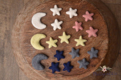 felted moons and stars