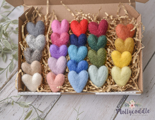 23 Tiny Felted Cuddle Hearts - Full Set