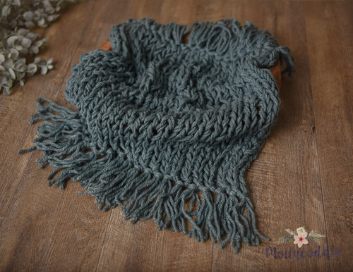 Luxe Hand Knitted Fringe Layer - Dusty Emerald