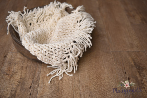 Luxe Hand Knitted Fringe Layer - Cream