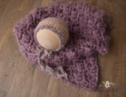 Luxe Soft Mohair Blend Layer and Bonnet Set - Mauve
