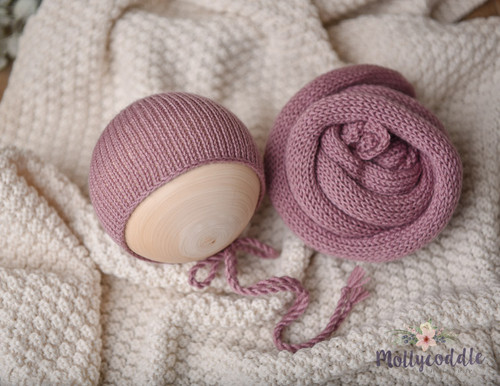 Merino Long Knitted Wraps and  Bonnets