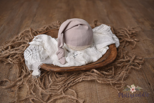 Ribbed Top Knot Newborn Sleepy Cap - Choose Colour