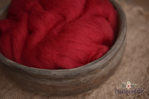Merino Wool Fluffy Cloud Batt Layer - Cherry
