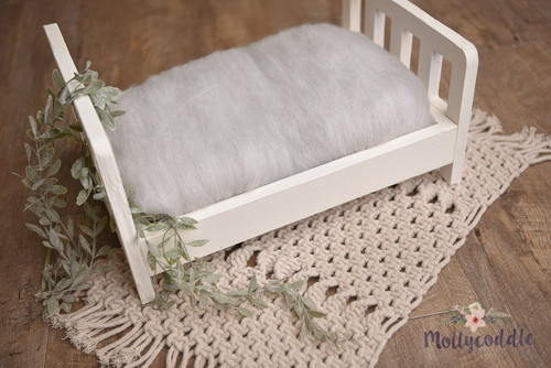 Merino Wool Fluffy Cloud Batt Layer - Lightest Grey Melange