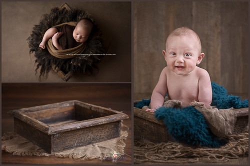 Newborn posing prop - shadow box/ low crate