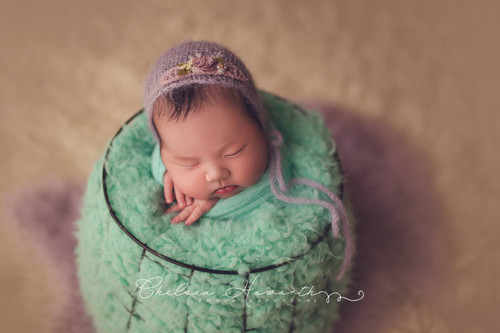 Mint faux fur stuffer - newborn prop layer