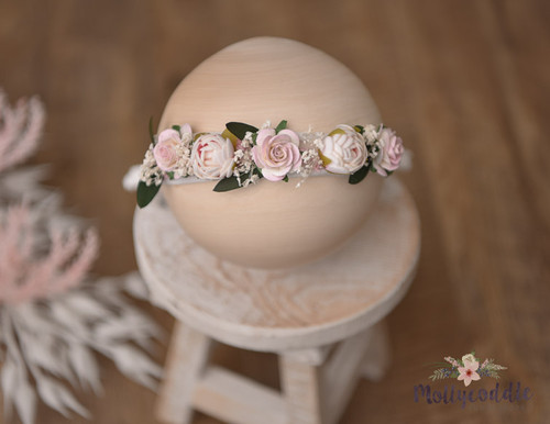 Roses Halo Tieback - Pink and Cream
