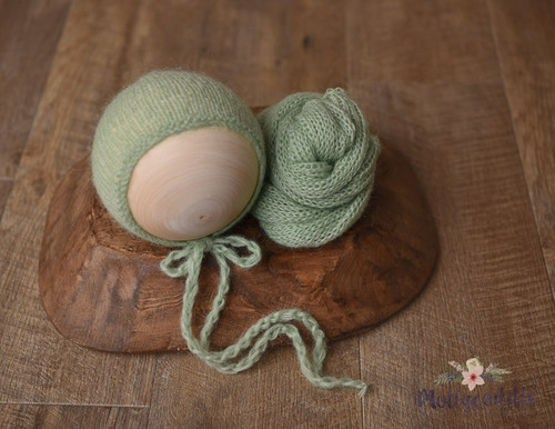Fine Mohair Wrap and Hand Knit NB Baby Bonnet - Spring Green