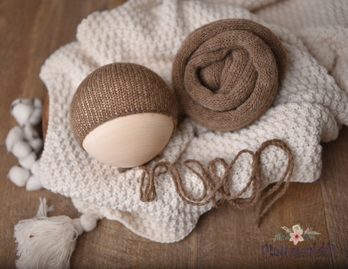 Soft Neutral Knitted Wrap and  Bonnet Set