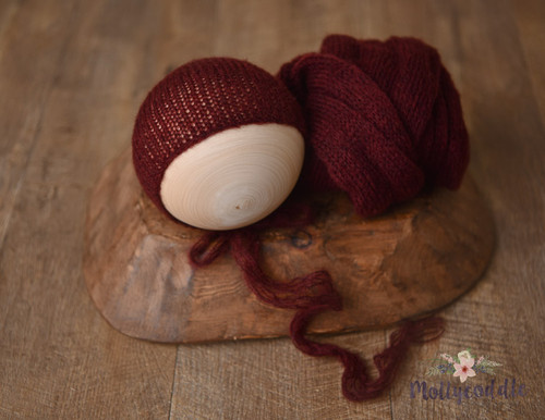 Soft Fuzzy Wool Knitted Wrap and  Bonnet Set