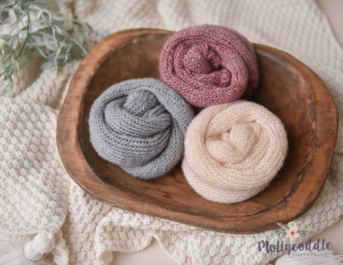 Knitted Faux Mohair Baby Wrap - Long or Tuck