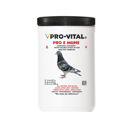 PRO-VITAL®  PRO-E-MUNE PIGEON supplement containing high valuable, natural egg immunoglobulins (IgY) used for young pigeons and adult pigeons.