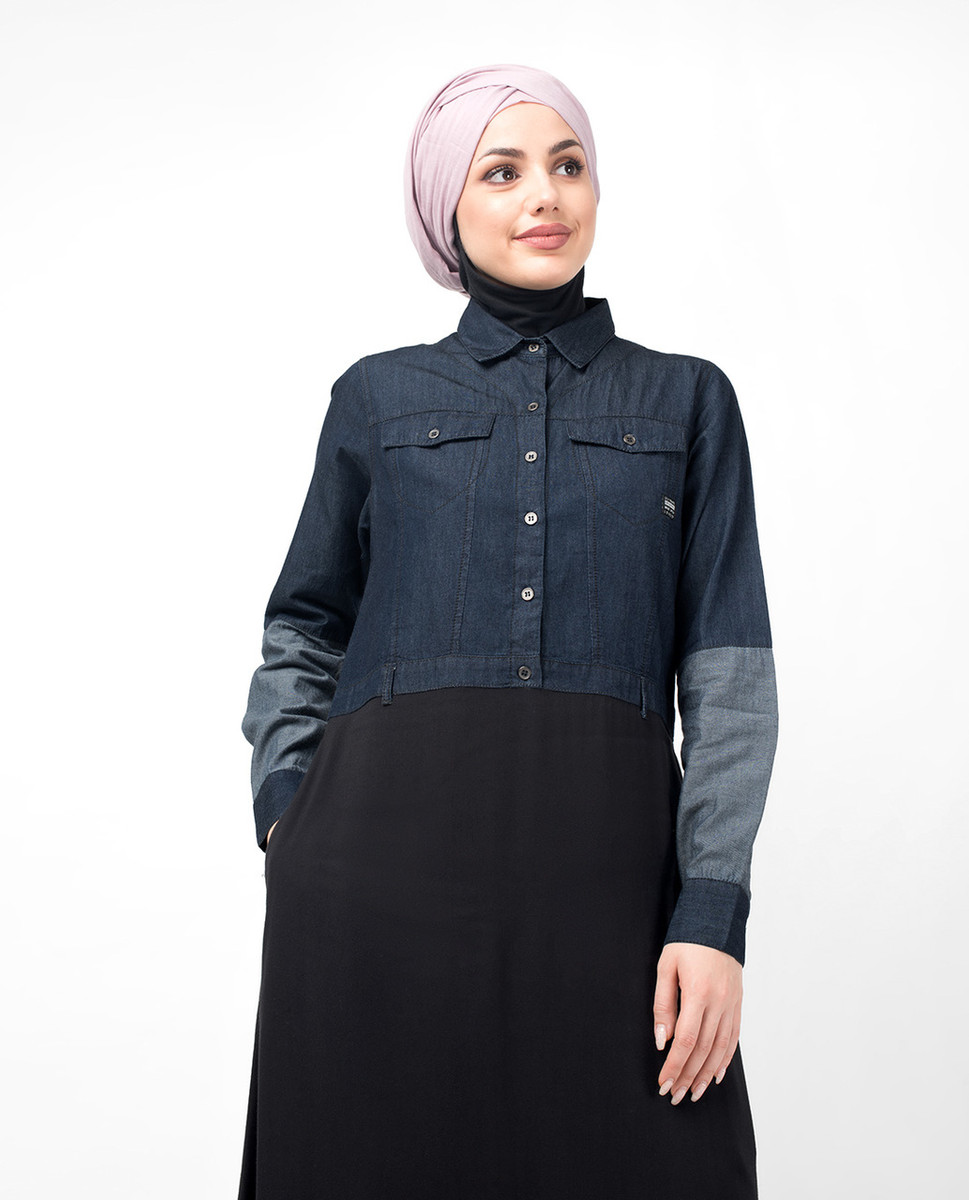 9f48e087b89 Mid Waist Skirt Denim Shirt Abaya · Mid Waist Skirt Denim Shirt Abaya ...