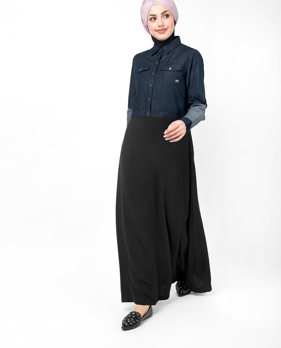 8daa08985ee Mid Waist Skirt Denim Shirt Abaya - India