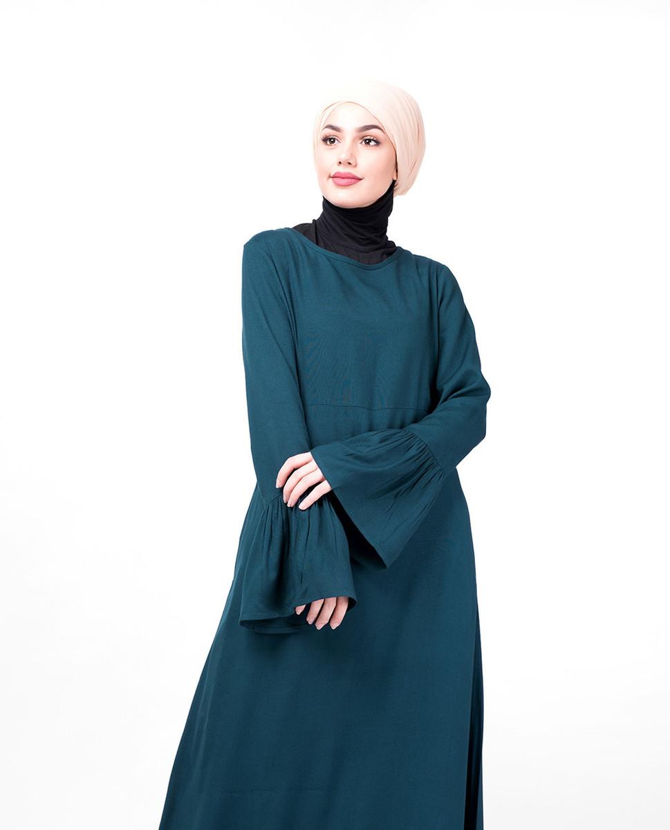 b5189a39a8ea Teal Bell Sleeve Abaya - India   Islamic Design House