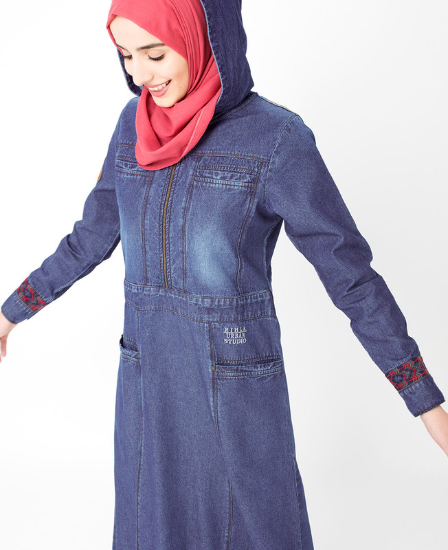 Denim Detail Jilbab