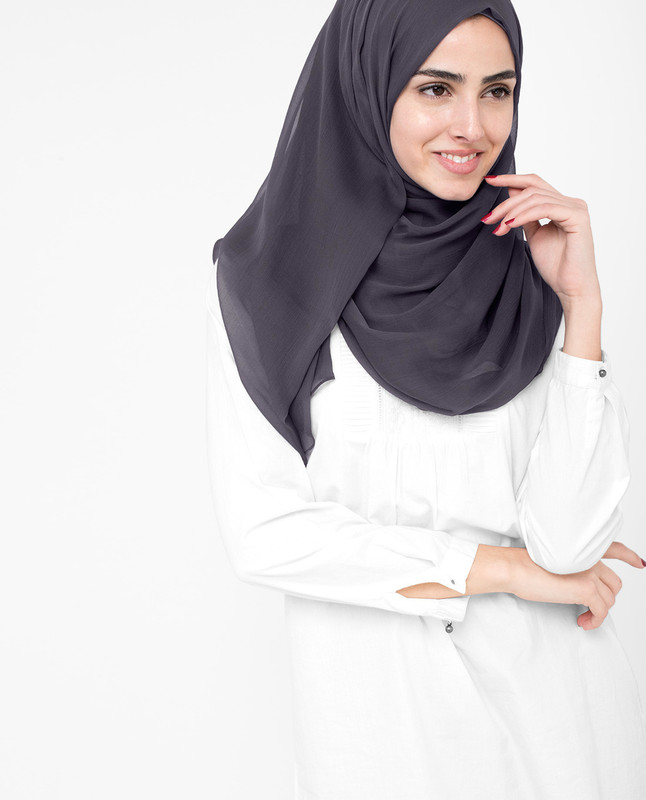 Nine Iron Grey PolyChiffon Hijab
