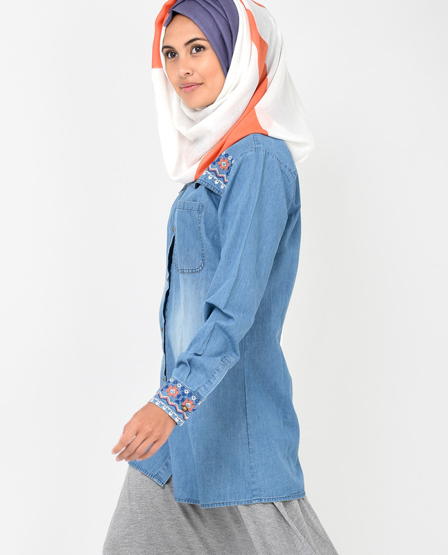 Blue Denim Long Line Shirt
