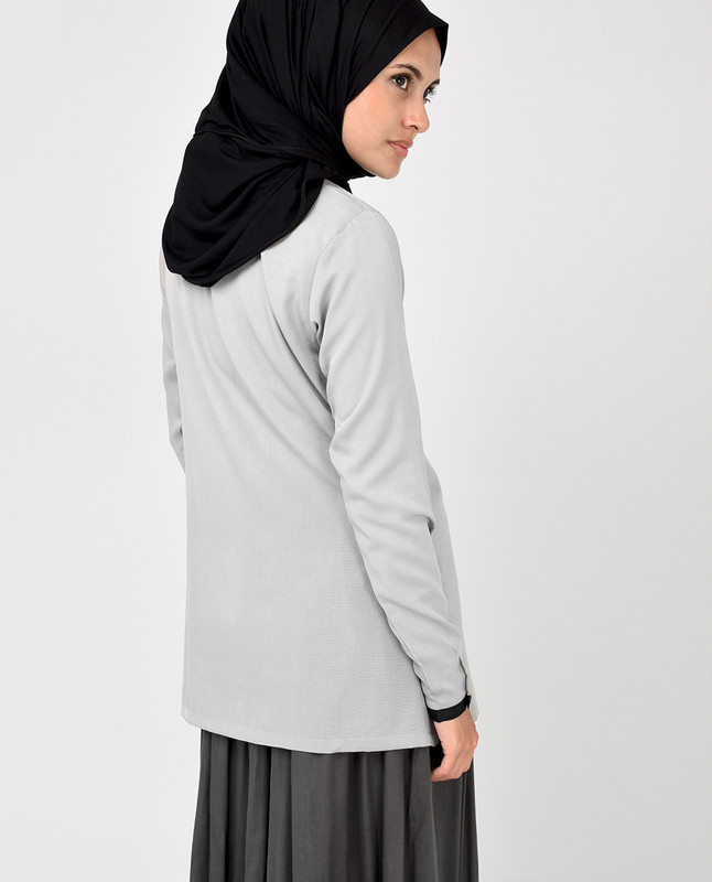 Light Grey and Black Crepe Top