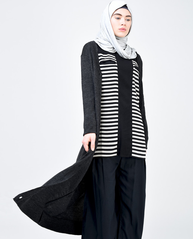 Black and Light Grey Striped Top