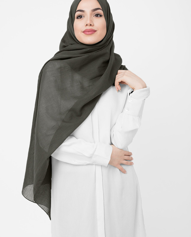 Olive Night Cotton Voile Hijab