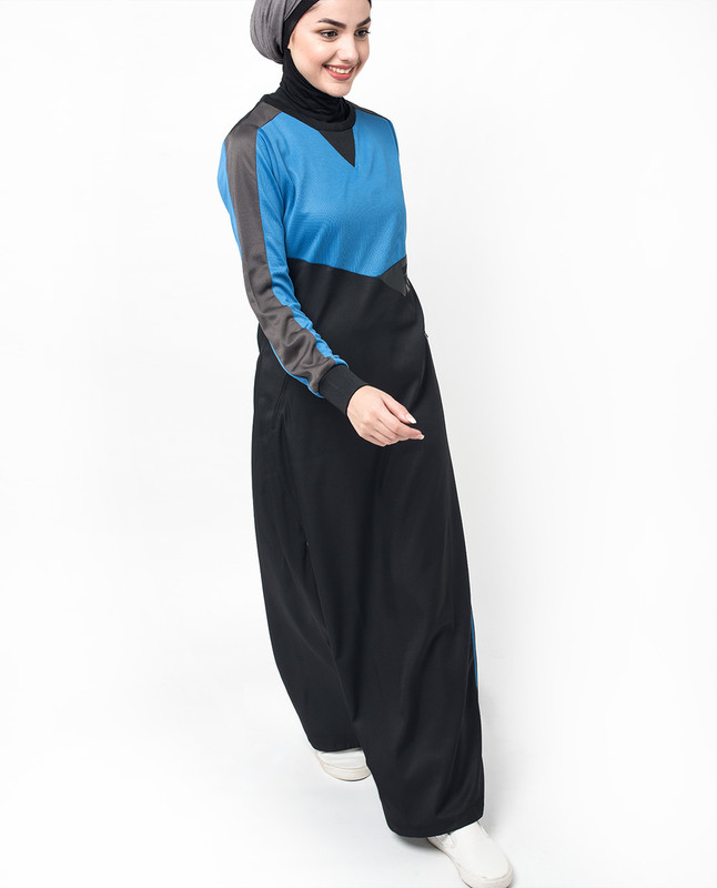 Sports Royal Blue and Black Structured Knit Jilbab
