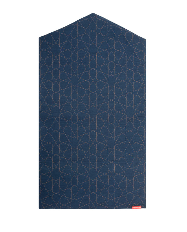 Geometric denim arch-shaped prayer mat rug2