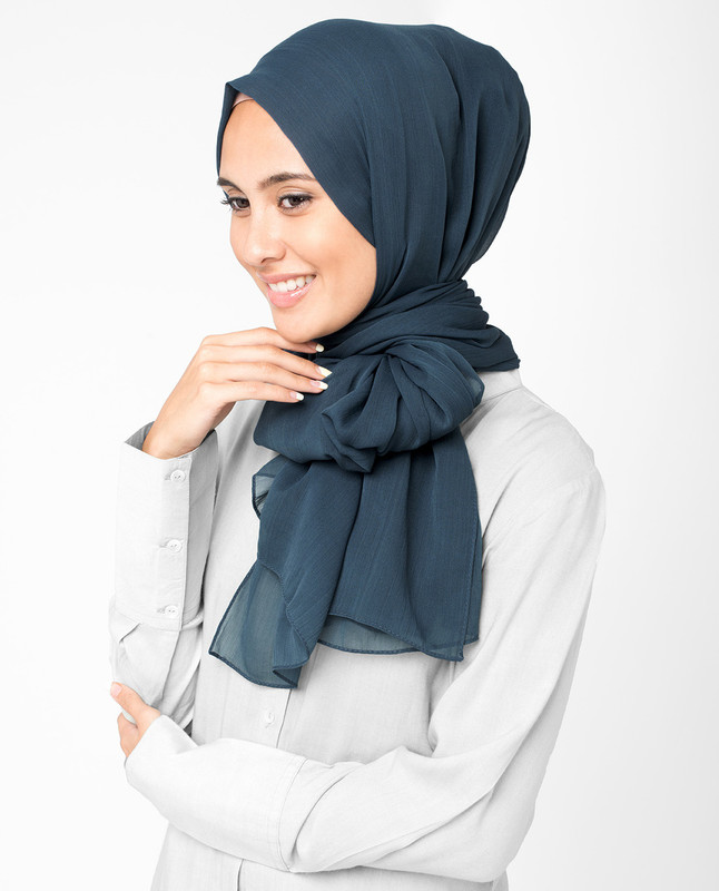 Total Eclipse Blue PolyChiffon Hijab