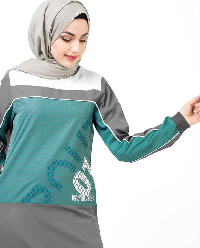 Grey & Teal Sport Print Jilbab