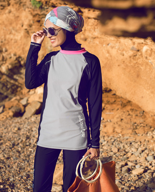 Black & Grey Surf Burkini
