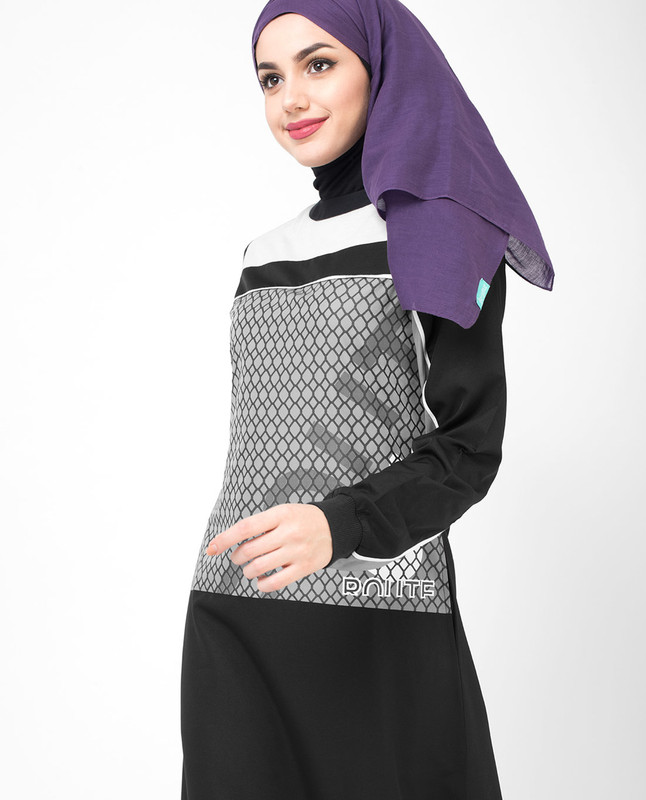 Monochrome Print Jilbab