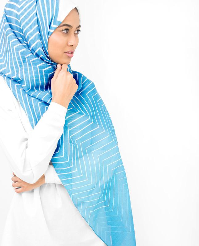 Blue Ziz Zag Viscose Hijab
