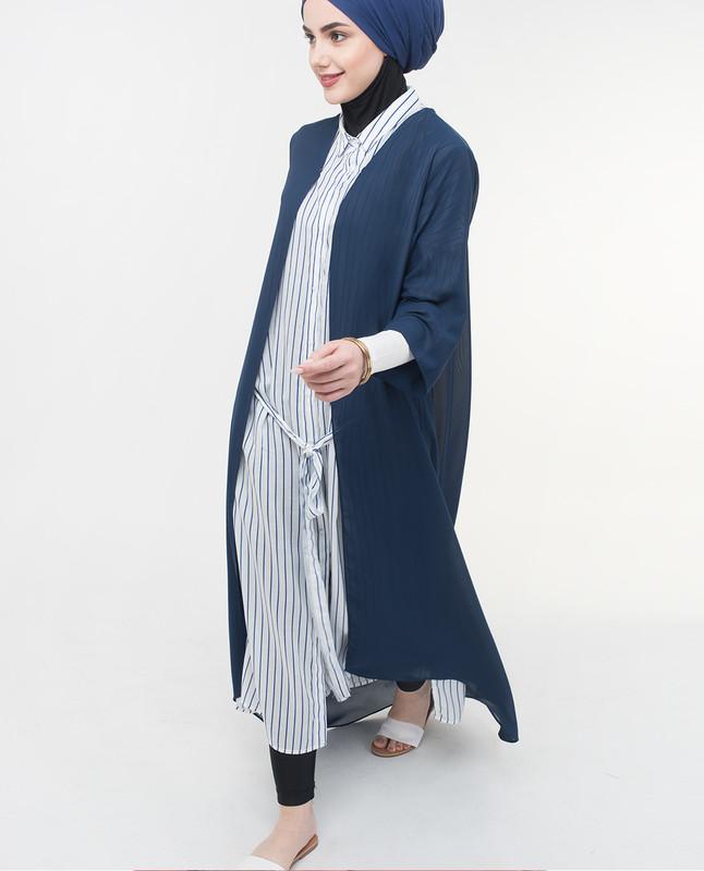 Long Sheer Mood Indigo Navy Kimono