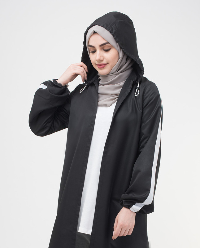 Black Hooded Outerwear