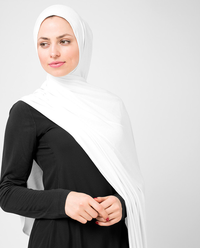 Bright White Viscose Jersey Scarf