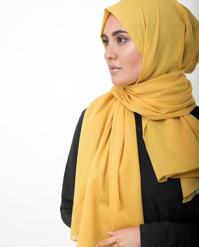 Lemonade Yellow Cotton Voile Scarf
