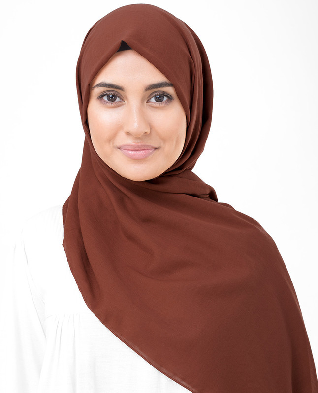 Cinnamon Stick Brown Cotton Voile Scarf