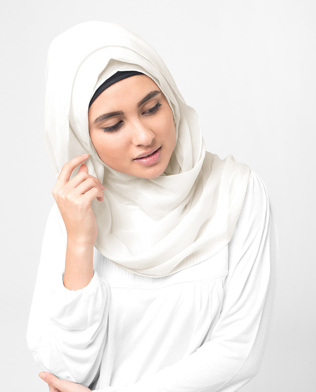 Bright White Poly Chiffon Scarf