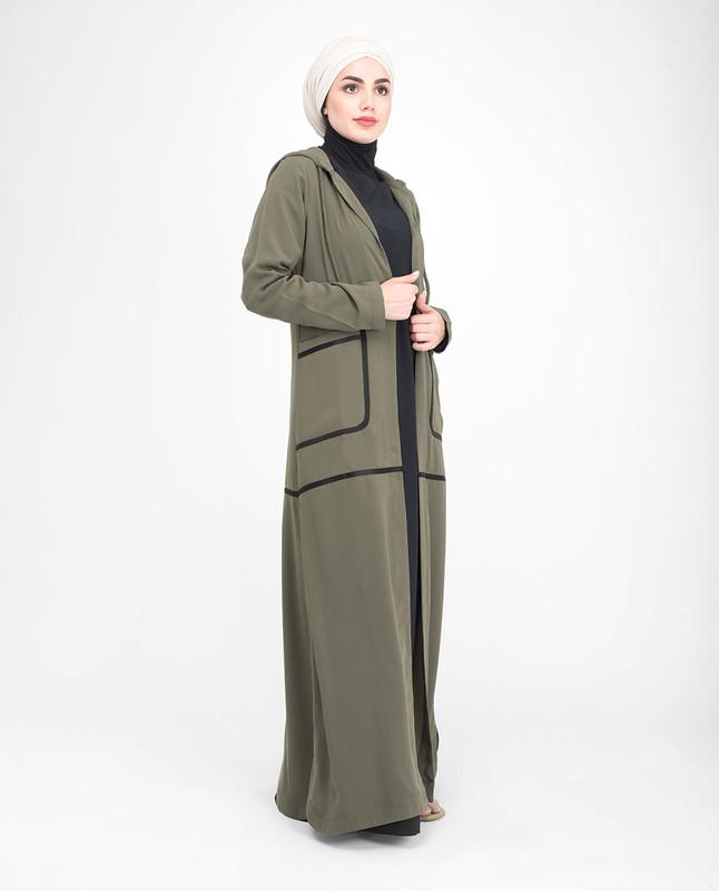 Green hooded abaya jilbab outerwear