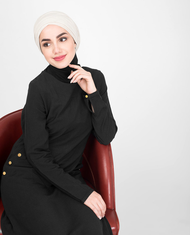 Black cross pocket jilbab abaya