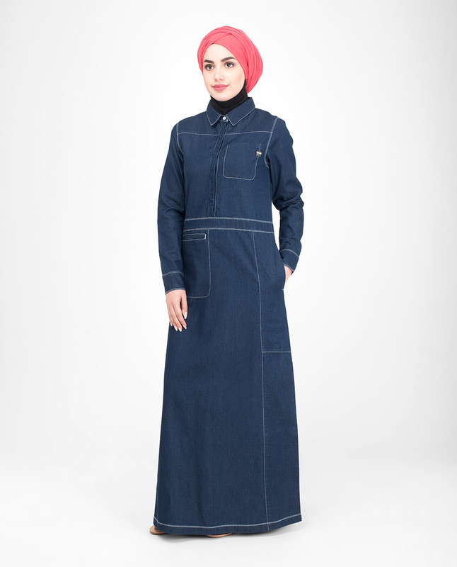 Cotton denim jilbab abaya