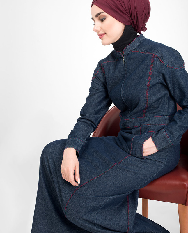 Long Zip Denim Jilbab