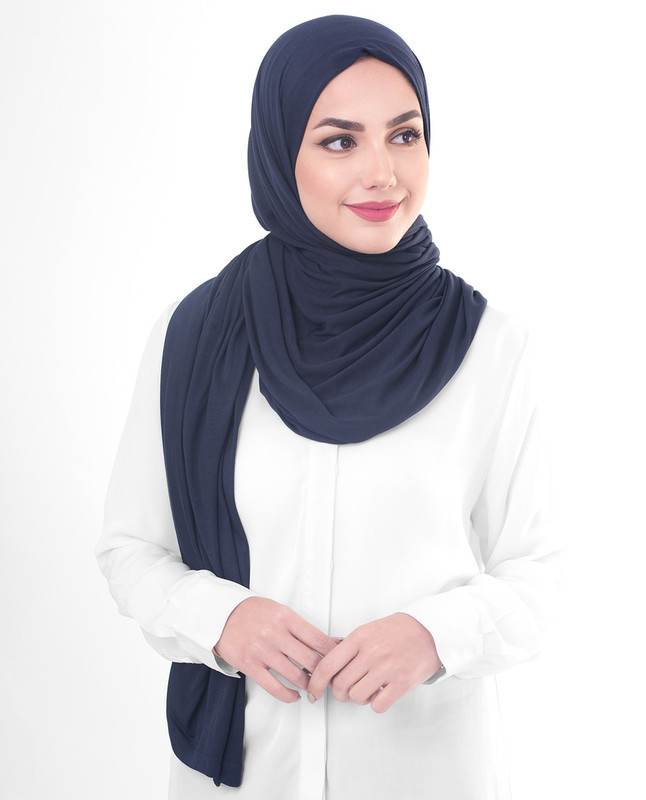 Blue hijab style scarf