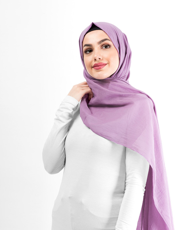 Dusty Lavender Cotton Voile Scarf