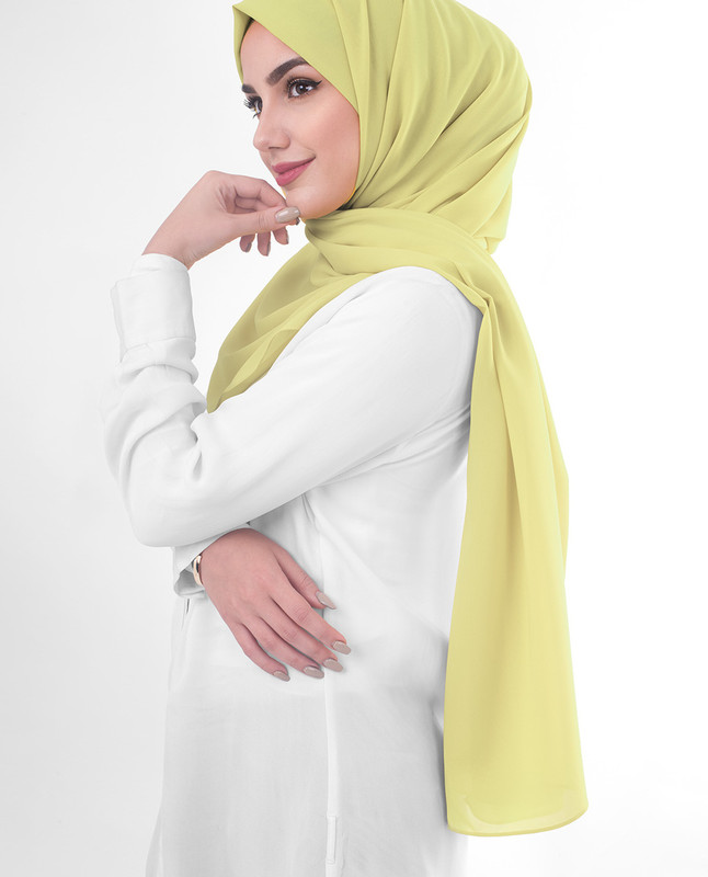 Yellow green hijab scarf